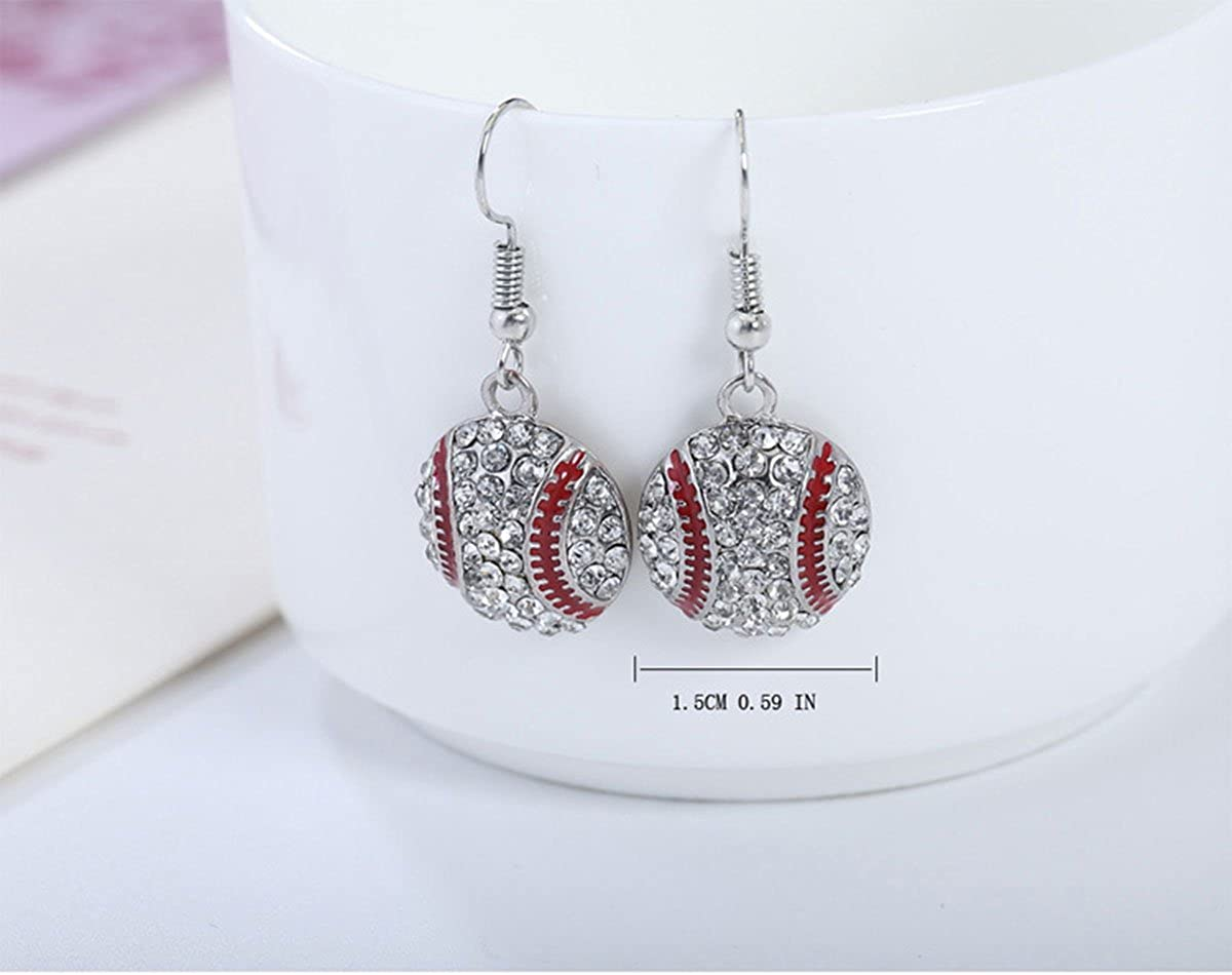 Ball Sport Alloy Crystal Jewelry Godyce Baseball Necklace and Earrings Set for Women
