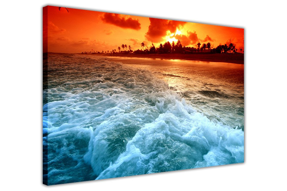 Beach Sunset and Waves on Framed Canvas Wall Art Pictures Landscape Prints SIZE: A4 - 12