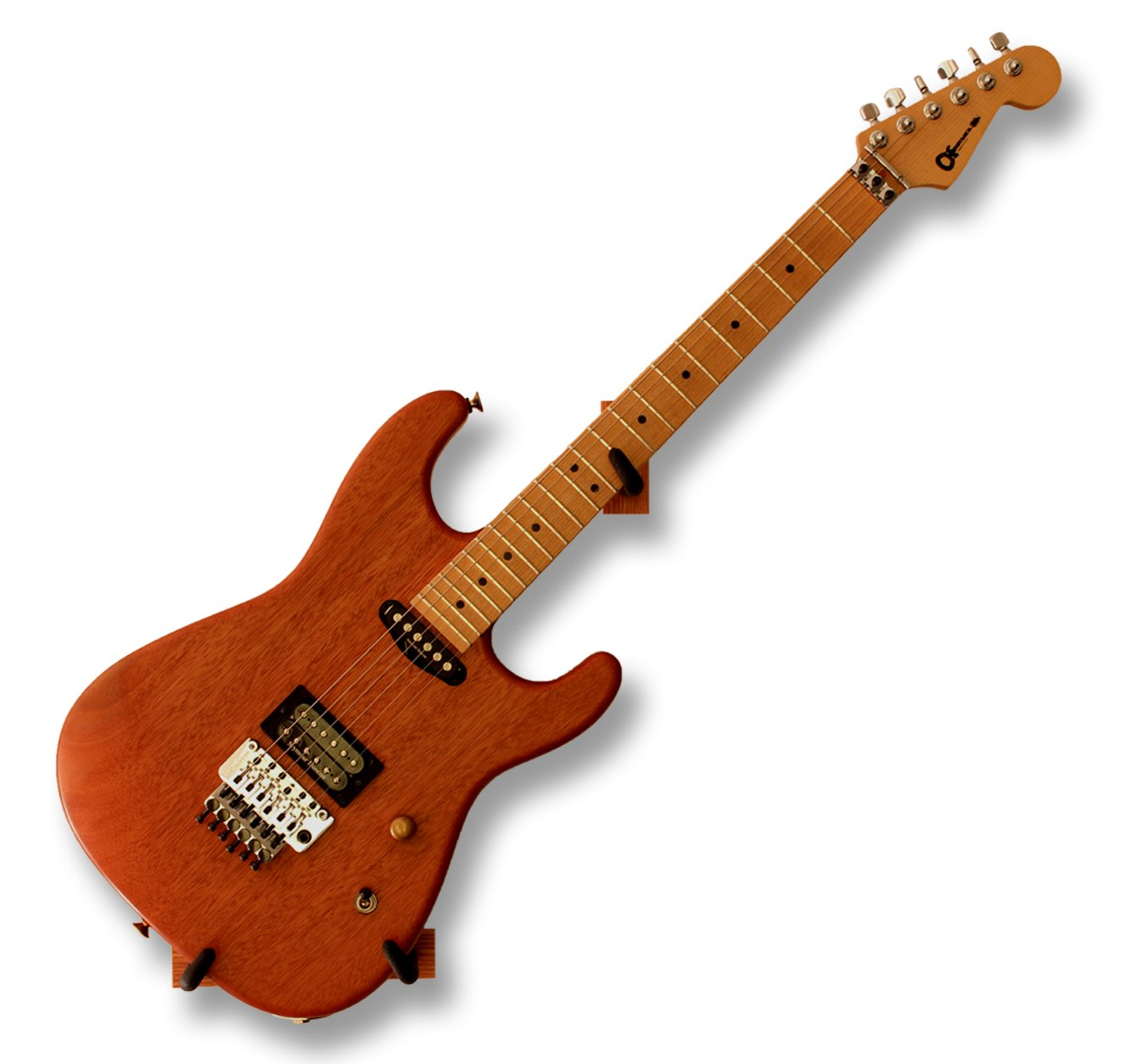 Angled Guitar Wall Hanger Display for Electric and Thin Body Guitars- Classic Finish by Hang'em High Guitar Hangers (Image #3)