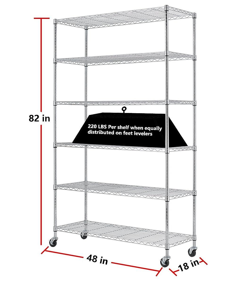 PayLessHere Chrome 6 Shelf Commercial Adjustable Steel shelving systems On wheels wire shelves, shelving unit or garage shelving, storage racks