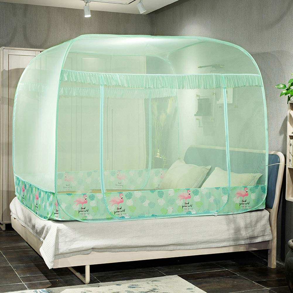 HCMPM Mosquito net pop-up Bed Foldable Easy to Install Anti-Mosquito Washable Collapsible Three-Door Household encryption Student Dormitory Princess Travel net Mosquito net Tent,Green,150200cm
