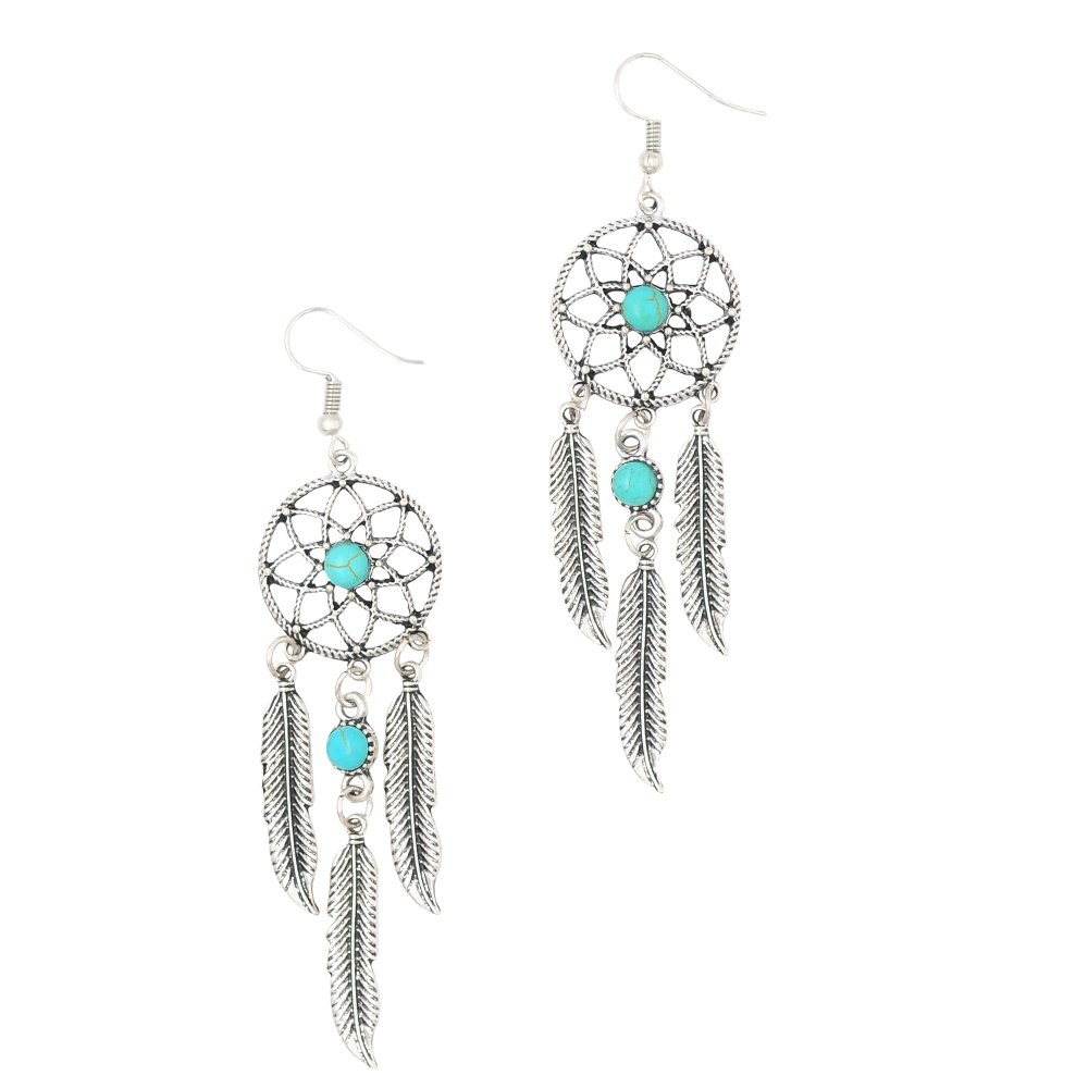 FVERMECKY Dangle Earrings Drop Hook Earrings with Turquoise Bead Inlay Dangle Earrings for Women/&Girls