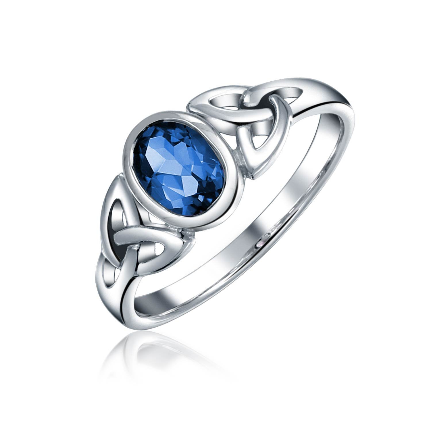 Simulated Sapphire Glass Celtic Knot Triquetra Sterling Silver Ring
