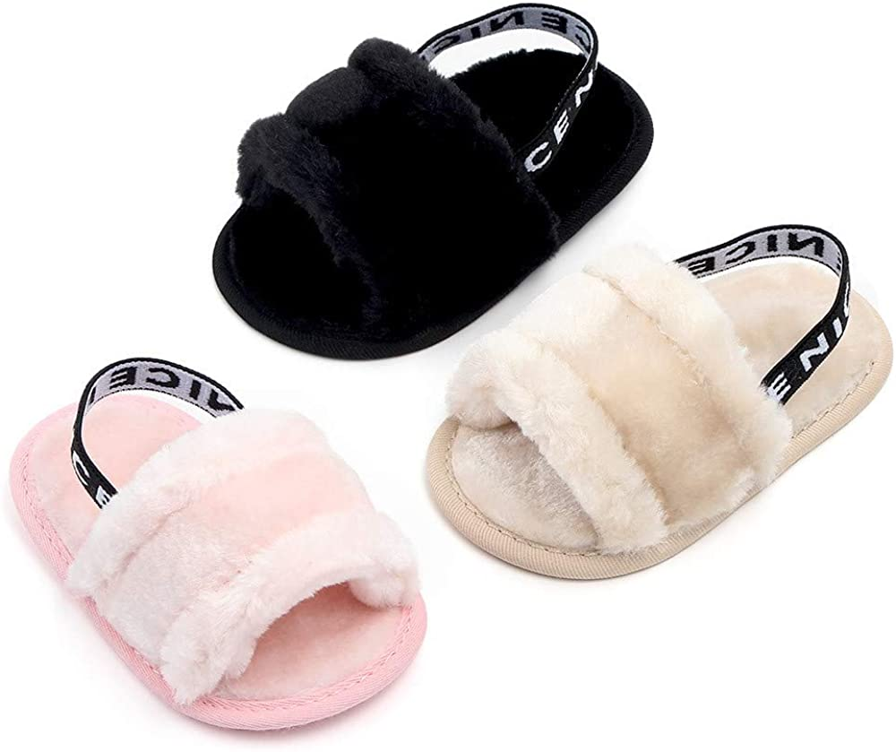 Meckior Infant Baby Girls Sandals Faux Fur Slides with Elastic Back Strap Flats Slippers Princess Dress First Walker Moccasins Shoes