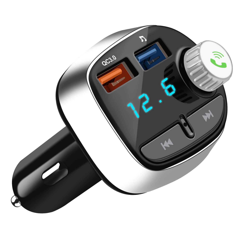 Nutmix FM Transmitter Bluetooth, Auto Radio Bluetooth Adapter Freisprecheinrichtung mit Mikrofon mit 2 USB ladegerä t, Wireless mp3 Player, fü r iPhone X/8 Plus/8, Samsung Galaxy S9/S8/S7