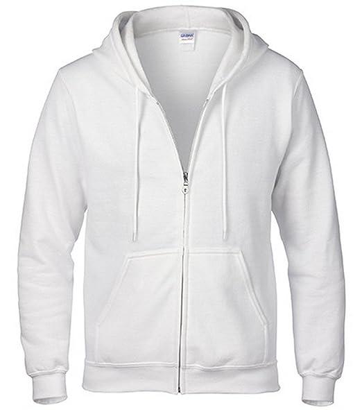 e12d239d280 Bigood Sweat-Shirt à Capuche Homme Pull Coton Chemise Veste Hoodies Casual  Sport Zippé Blanc