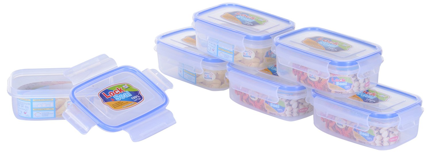 SKI Rectangular Lock & Seal Containers 450 ML - Set of 6 Containers/Airtight boxes.
