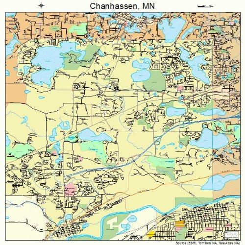 Amazon.com: Large Street & Road Map of Chanhassen, Minnesota MN ...