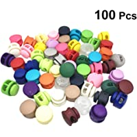 Healifty 100PCS Plastic Toggle Single Hole Spring Loaded Elastic Drawstring Rope Cord Locks Clip Ends Round Ball Shape Luggage Lanyard Stopper for Camping Hiking Random Color