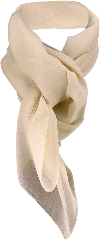 TigerTie beige monocromo tama/ño 90 cm x 90 cm bufanda pa/ñuelo de gasa