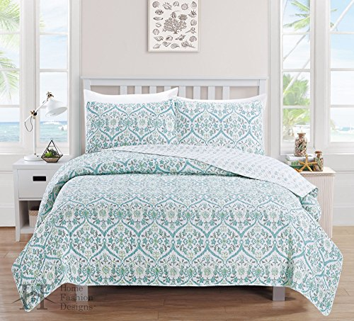Cassandra Comforter Set - Cassandra Collection 3-Piece Luxury Quilt Set with Shams. Soft All-Season Microfiber Reversible Bedspread and Coverlet with Printed Pattern. (Twin, Blue)