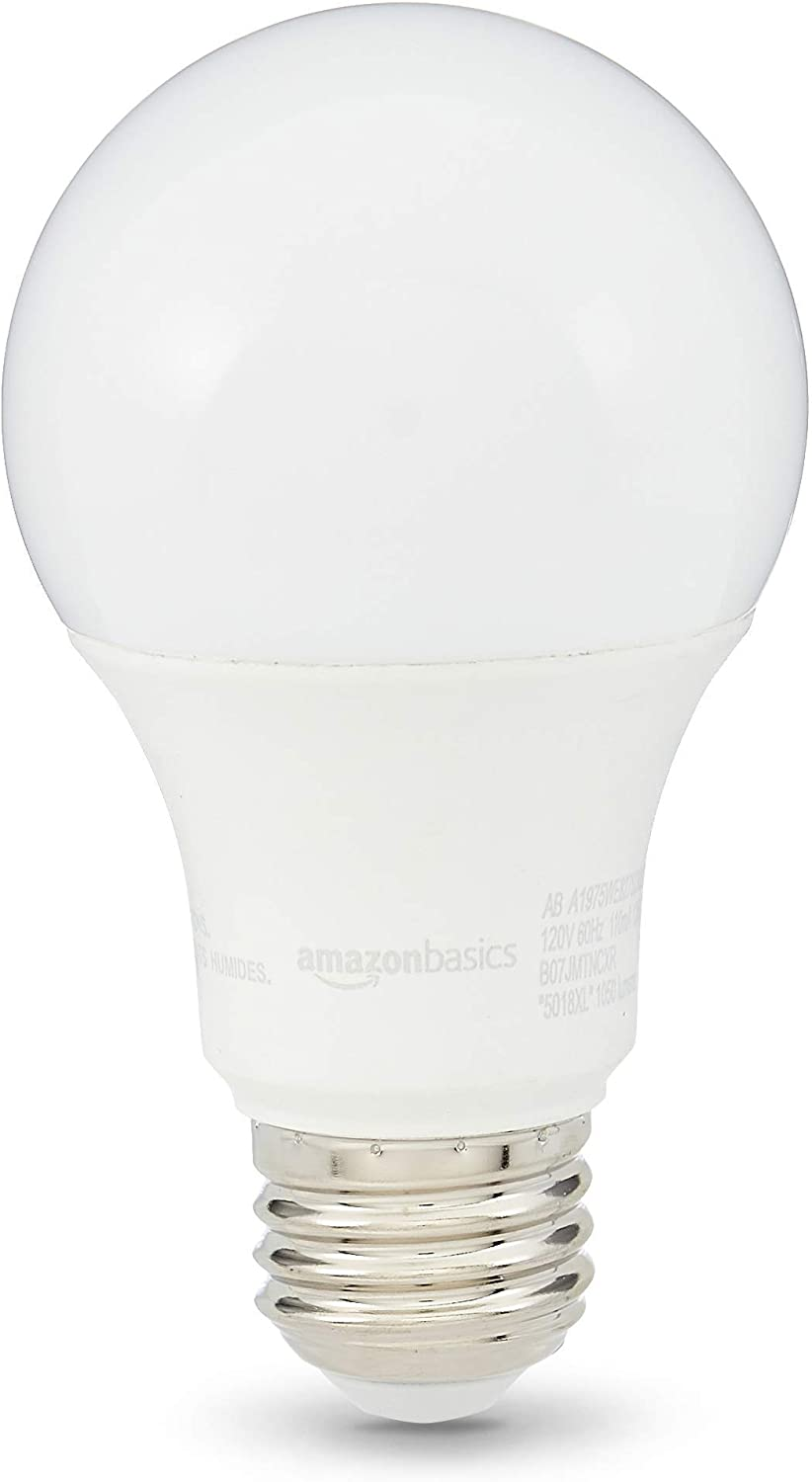 AmazonBasics 75W Equivalent, Soft White, Dimmable, 10,000 Hour Lifetime, A19 LED Light Bulb | 6-Pack (Renewed)