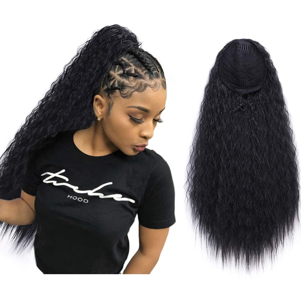 AISI QUEENS 22'' Long Drawstring Ponytail Synthetic Corn Wave Black Ponytail Extension Hairpiece Long Wavy Clip on Ponytail for Women (Color: 1B#) by AISI QUEENS