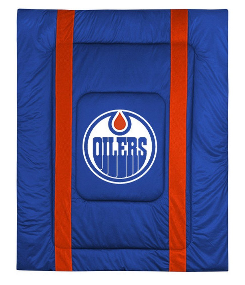 NHL Edmonton Oilers Sidelines Comforter, Queen, Bright Blue Sports Coverage 05JSCOM5OILQUEN