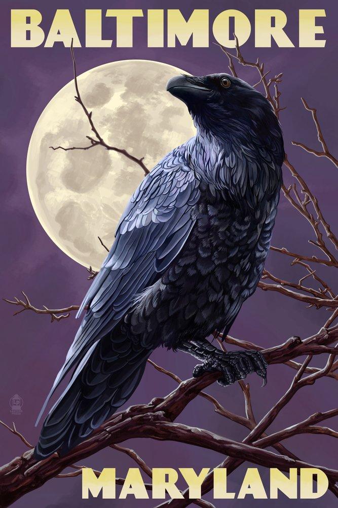 Baltimore, Maryland - Raven and Moon Purple Sky (12x18 Art Print, Wall Decor Travel Poster)