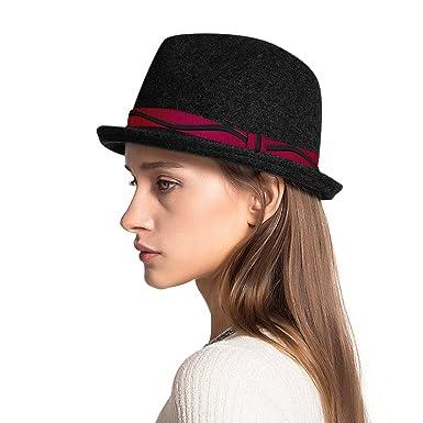 5c51094939801 Premium Unisex British Woolen Felt Fedora Vintage Short Brim Jazz ...
