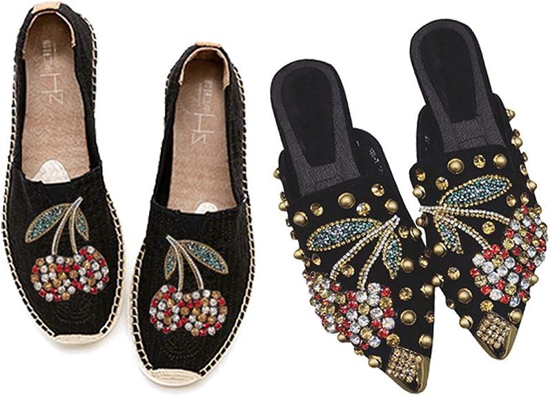 dailymall Pince /à Chaussures Cerise Perles De Mode Strass Patch Sac De Chapeau De