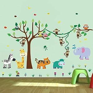 decalmile Animal Tree Wall Stickers Monkey Giraffe Elephant Kids Wall Decals Baby Nursery Kids Room Wall Decor