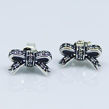 1790f4f1a Sparkling Bow Stud Earrings with Clear Cubic Zirconia fits European Pandora  Jewelry Authentic 925 Sterling Silver: Amazon.ca: Home & Kitchen