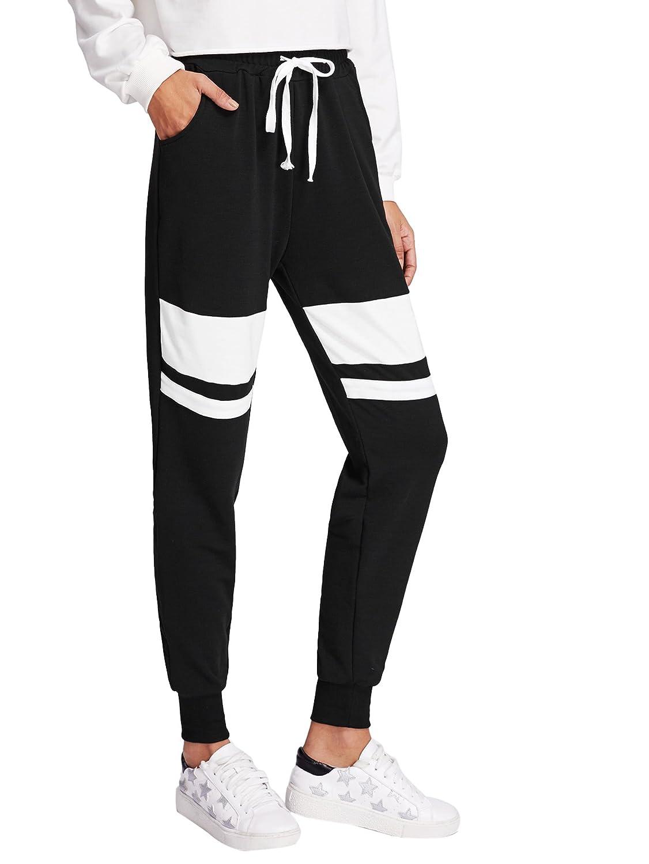 SweatyRocks Women Pants color Block Casual Tie Waist Yoga Jogger Pants Black White  1 L