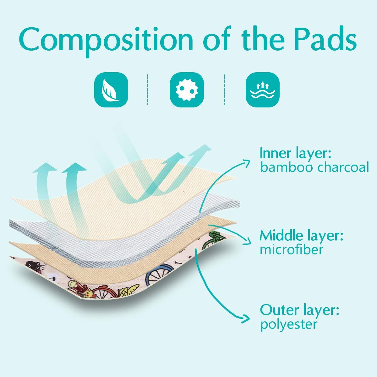 Wipalo Reutilizables de Carbón de Bambú 8PCS Menstrual Reutilizable Súper Absorbencia Con Bolsa de Transporte Sanitario Lavable Reutilizable Almohadilla ...