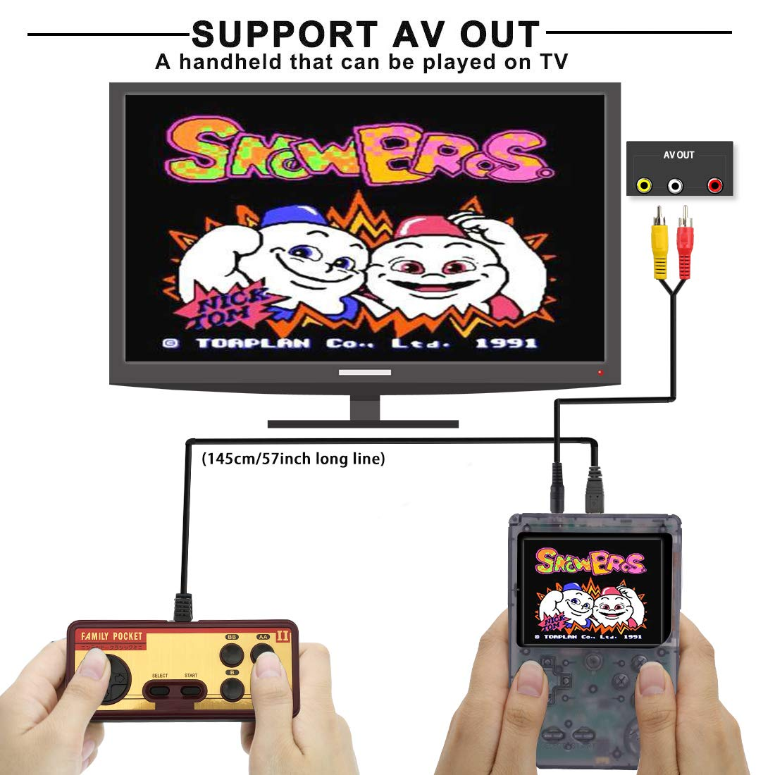 AKTOUGST Handheld Game Console, Retro Game Console 400 Classic Game FC System Video 3 Inch with Headphone Portable Mini Extra Controller Support TV 2 Player,Gift for Child Adult, (Transparent Black) by AKTOUGST (Image #2)