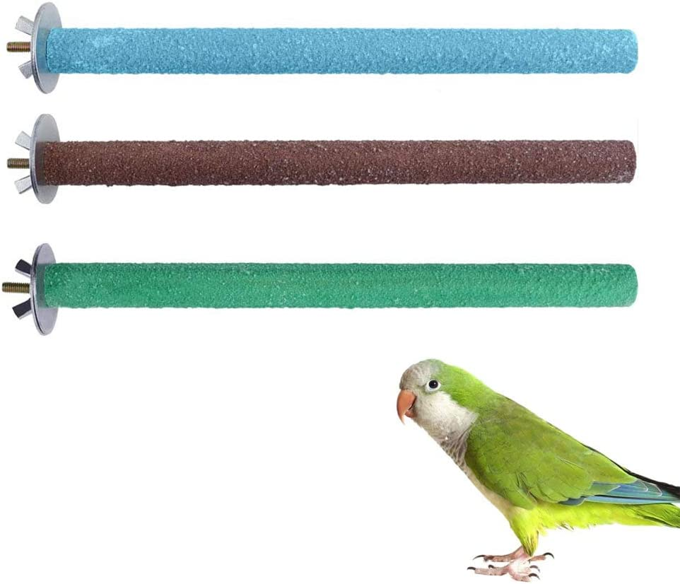 SUNSHINETEK Bird Perches 3 Pack Parrot Paw Grinding Toy perches Pet Bite Chew Stand (Madera + Esmeril): Amazon.es: Productos para mascotas