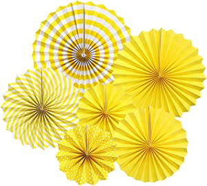zilue Hanging Yellow Paper Fans Decoration Kit Round Paper Garlands for Wedding Birthday Party Baby Showers Events Accessories Set of 6