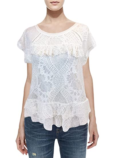 b54917a5067ba7 Xhilaration Women's Garden Collection White Lace Blouse (L) at ...