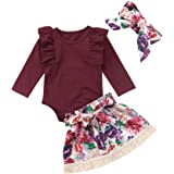 Baby Girl Long-Sleeved Jumpsuit +Floral Short Skirt + Headband (70, Red Wine)