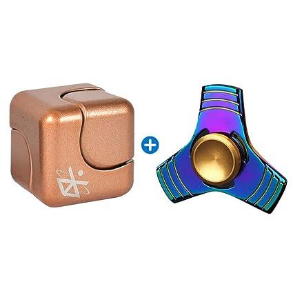 Metallo di colore oro doppio dito Mano Spinner Fidget Filatura giocattolo CUSCINETTO IN ACCIAIO