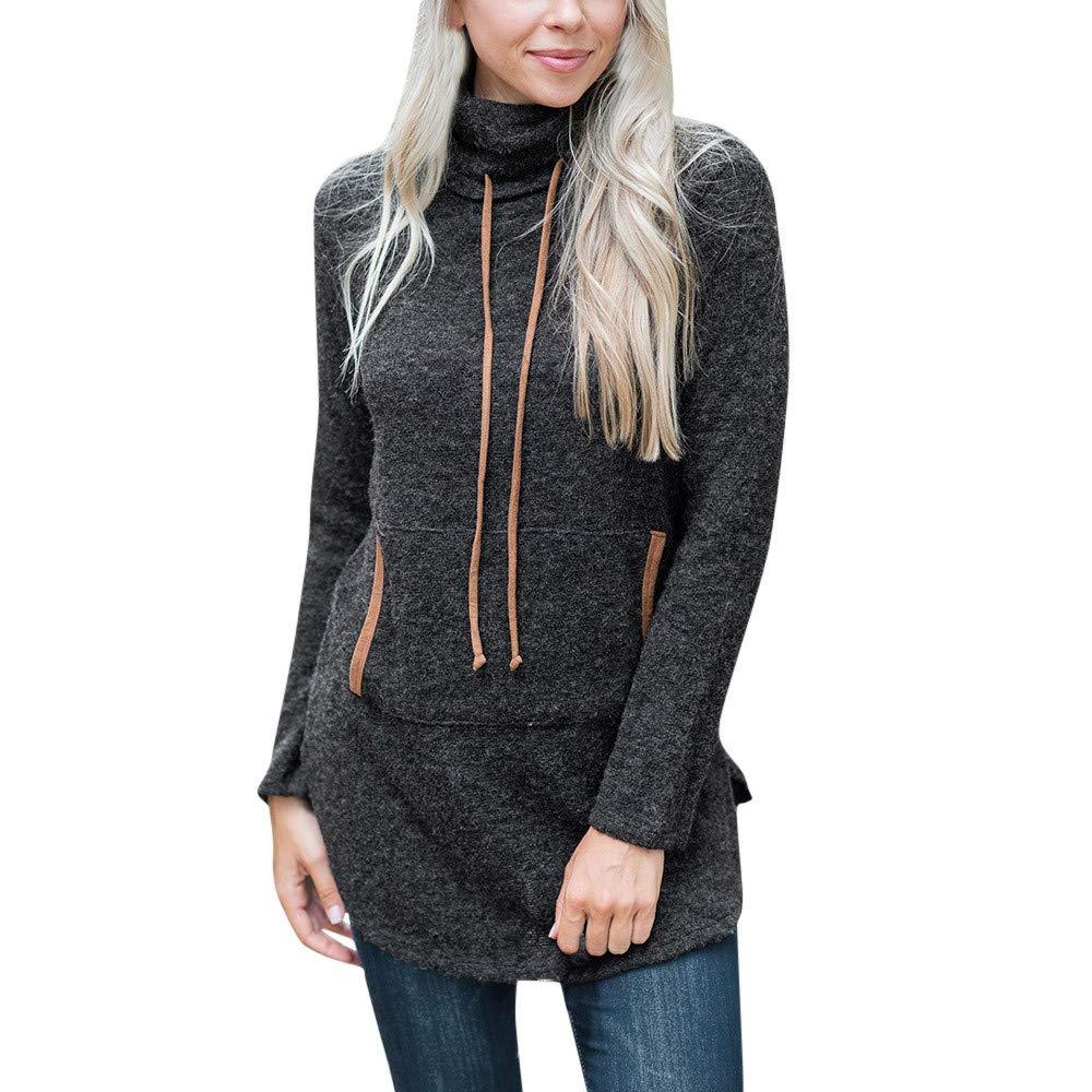 UJUNAOR Damen Herbst Winter Langarmhemd Lä ssig Pullover mit Schalkragen Slim Fit
