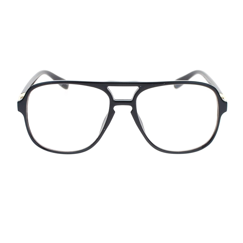 6fa740f969a Amazon.com  Mens Retro Nerdy Geek Urkel Plastic Pilot Clear Lens Eye Glasses  Black Gold  Clothing