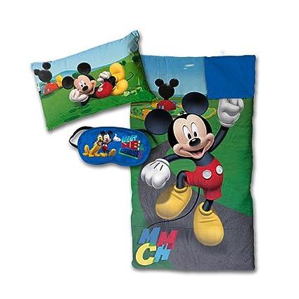 Disney Mickey Mouse pijama de 3 piezas Set – Saco de dormir, cojín y antifaz