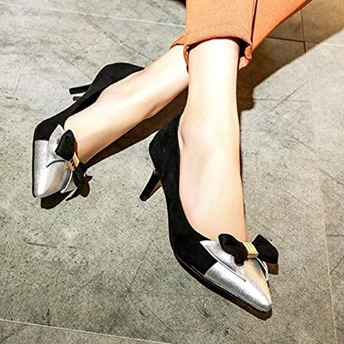 Bows Heel Stitching Black Womens Contrasting Toe Pointed Easemax Shoes Color Kitten Mid Sexy Pumps Frosted gxPHnwqf