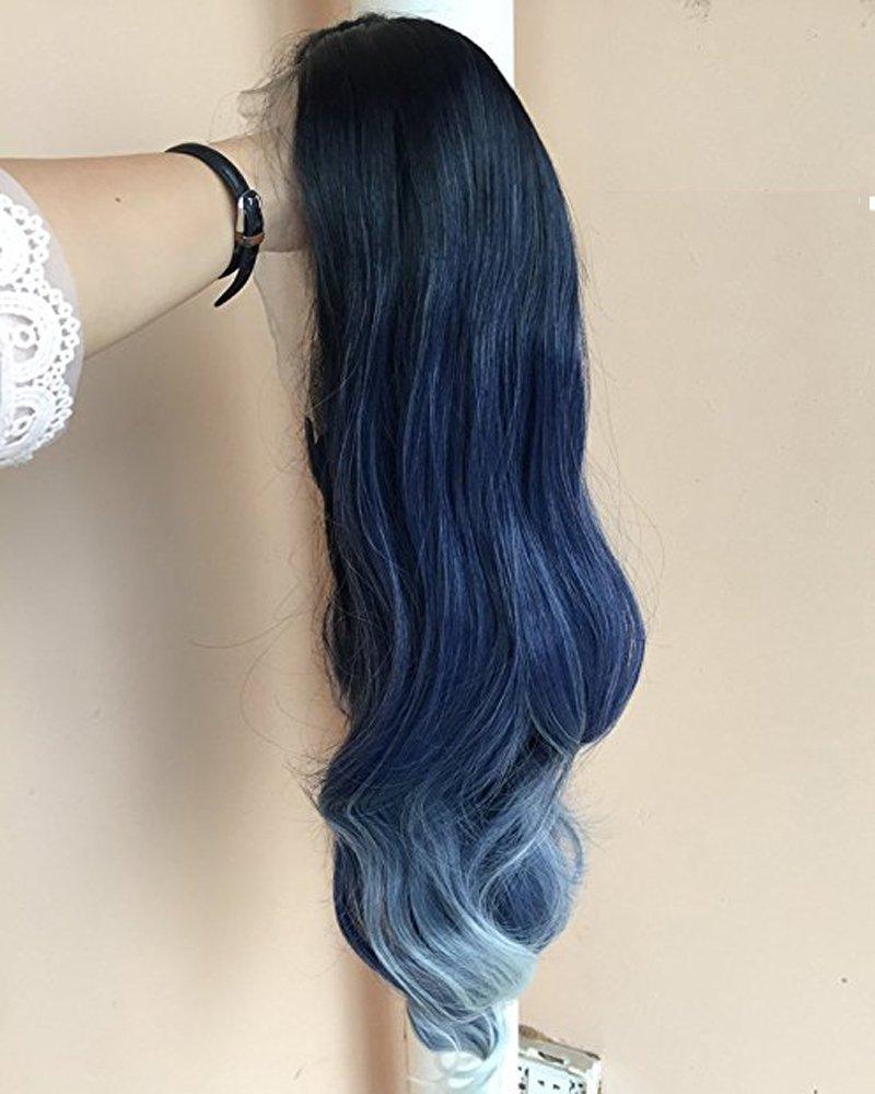 Tsnomore - Peluca larga de encaje frontal de color ombré hecha a mano para mujer, de aspecto natural, color blanco: Amazon.es: Belleza