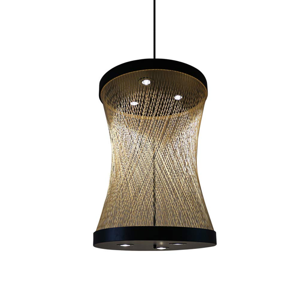 DECORATZ LED Wrought Iron Ceiling Light,Natural Bamboo Lampshade Chinese Hand-Painted Chandelier Fixture for Restauran Hotel Cob Spotlight-600900mm