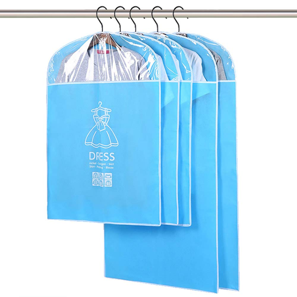 Breathable Garment Bag Suit Bag with Full Zipper & Eyehole & Clear PVC Window for Folding for Suit Carriers, Dresses, Storage or Travel by Daint Pack of 5 (35''x 3PCS + 47''x 2PCS) (Sky Blue)