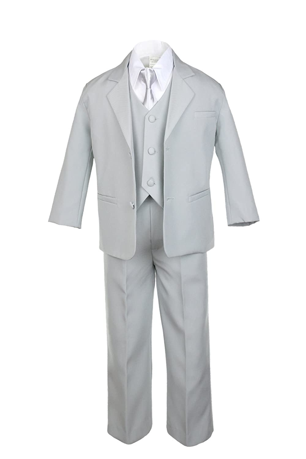 Unotux 6pc Boy Gray Vest Set Suit with Satin Silver Necktie Outfits Baby to Teen