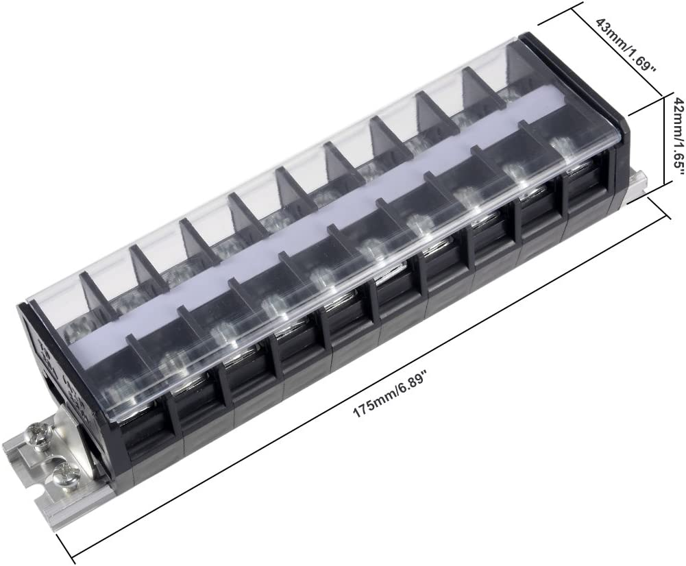 Sourcingmap Barrier terminal Strip Bloc 660/ V 30/ A Double rang/ées 10P Rail DIN Base Vis connecteur