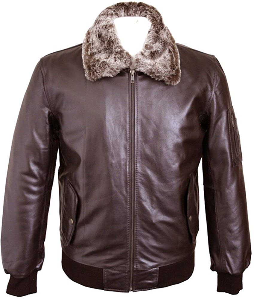 Mens Dark Brown Real Leather Pilot Jacket with Removable Fur Collar - Mustang