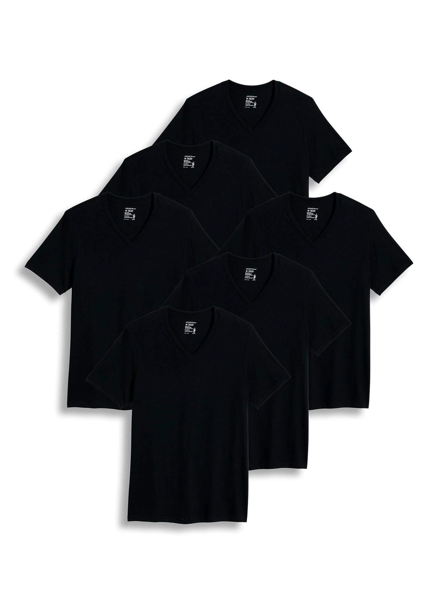 Jockey Men's T-Shirts Big & Tall Classic V-Neck T-Shirt - 6 Pack, Black, XLT