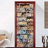 YUMULINN wallpaper stickers Wallpapers murals 3D personalized door stickers bedroom door renovation, color brick wall stickers 77 × 200cm