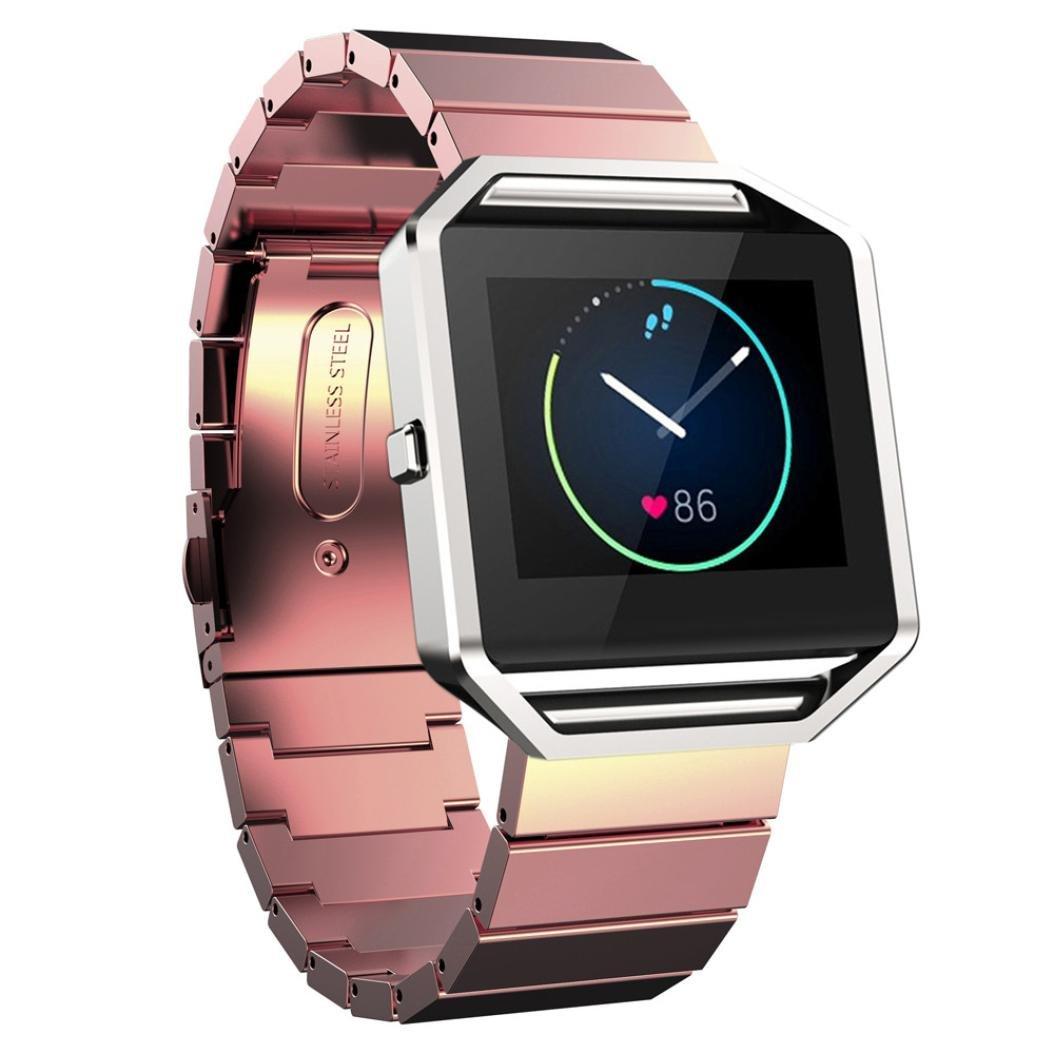 Fitbit Blazeアクセサリーバンド、AutumnFall新しいローズピンクStailessスチールブレスレットストラップウォッチバンドfor Fitbit Blaze B01EW80STS ローズピンク