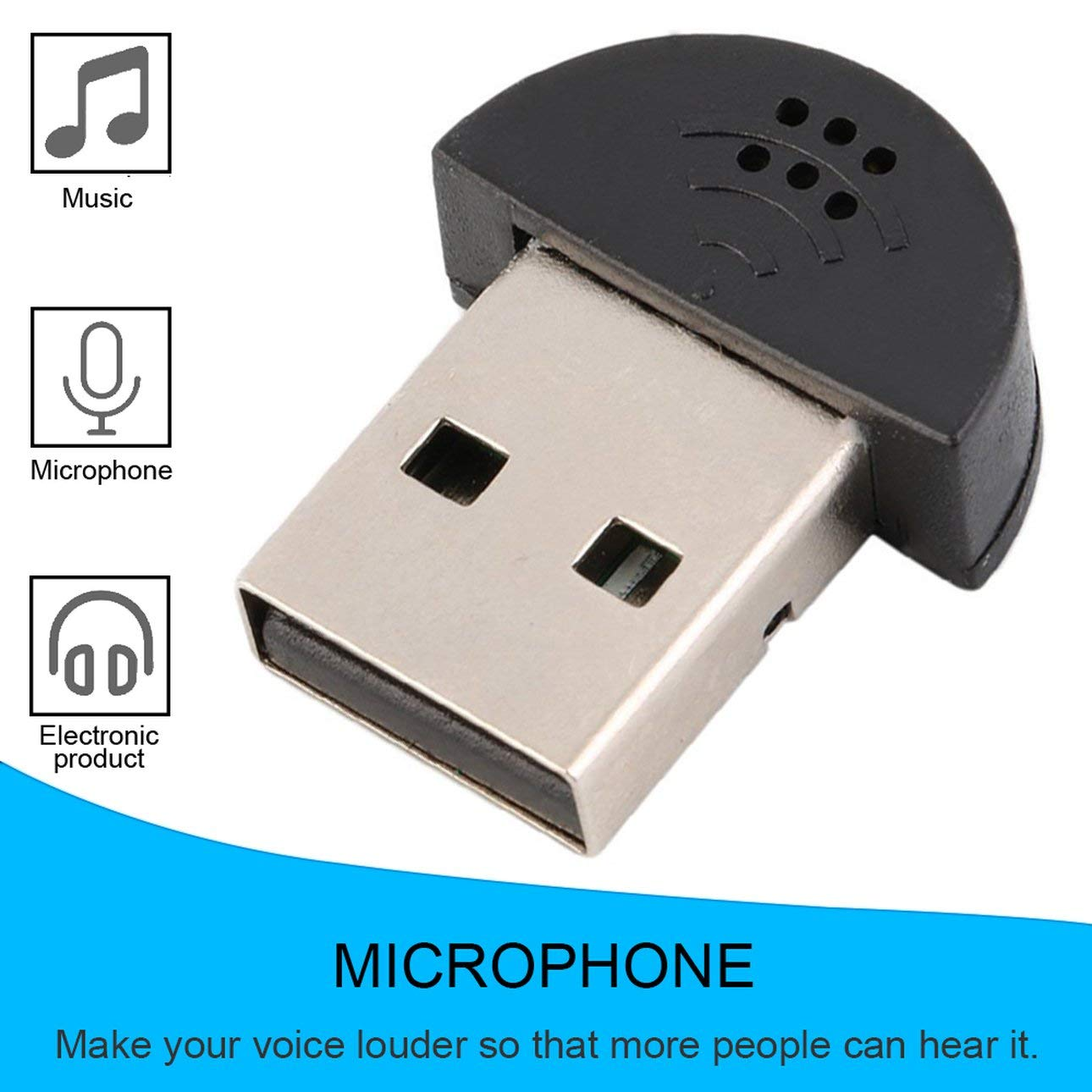 Ballylelly Super USB Mini Leichtgewicht USB 2.0 Mikrofon MIC Audio Adapter 100-16kHz f/ür PC Notebook Laptopest