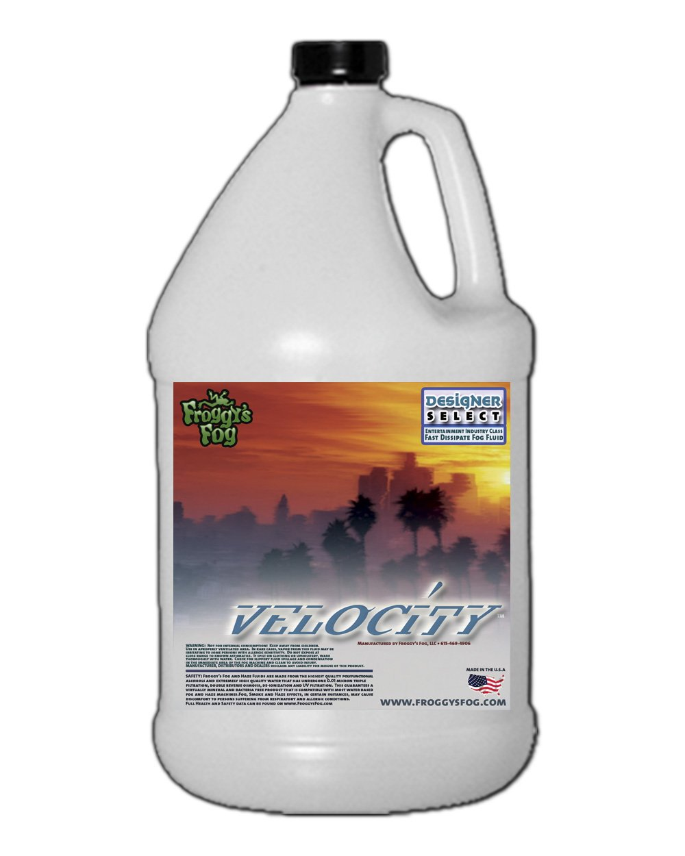1 Gal - Velocity - Designer Select Fast Dissipating Fog Machine Fluid Froggys Fog DS-VE-1