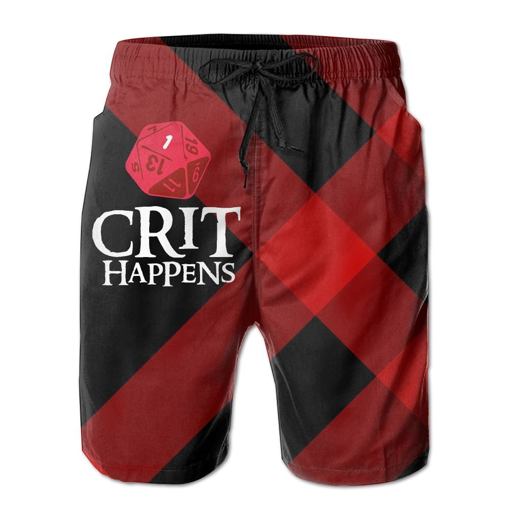 Helidoud Crit Happens Mens Athletic Classic Summer Boardshorts with Pockets