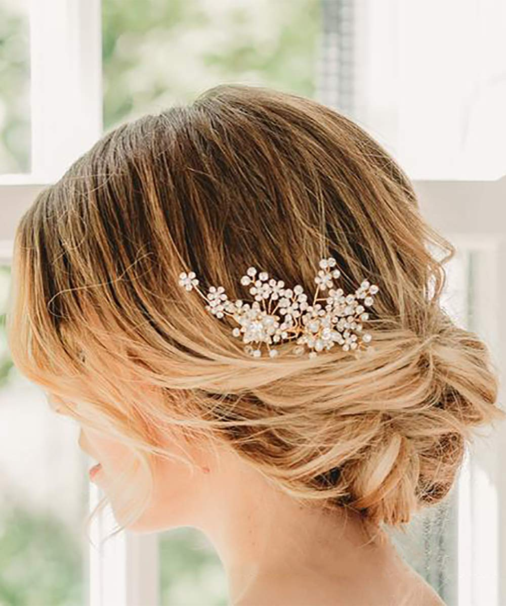 Deniferymakeup Dainty Bridal Floral Hair Comb Wedding Pearl Hair Comb Woodland Bridal Hair Accessories Flower Headpiece Bridal Head Piece Floral Hair