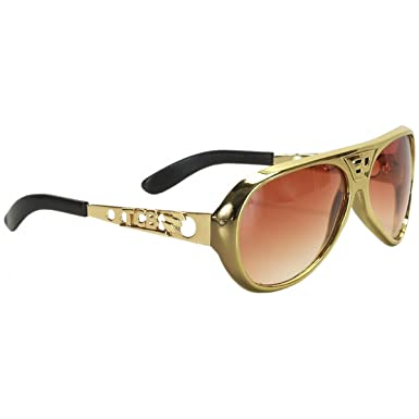 0a37bf23d91 Elope Authentic Elvis Sunglasses (Official Classic Gold Brown)   Amazon.co.uk  Clothing