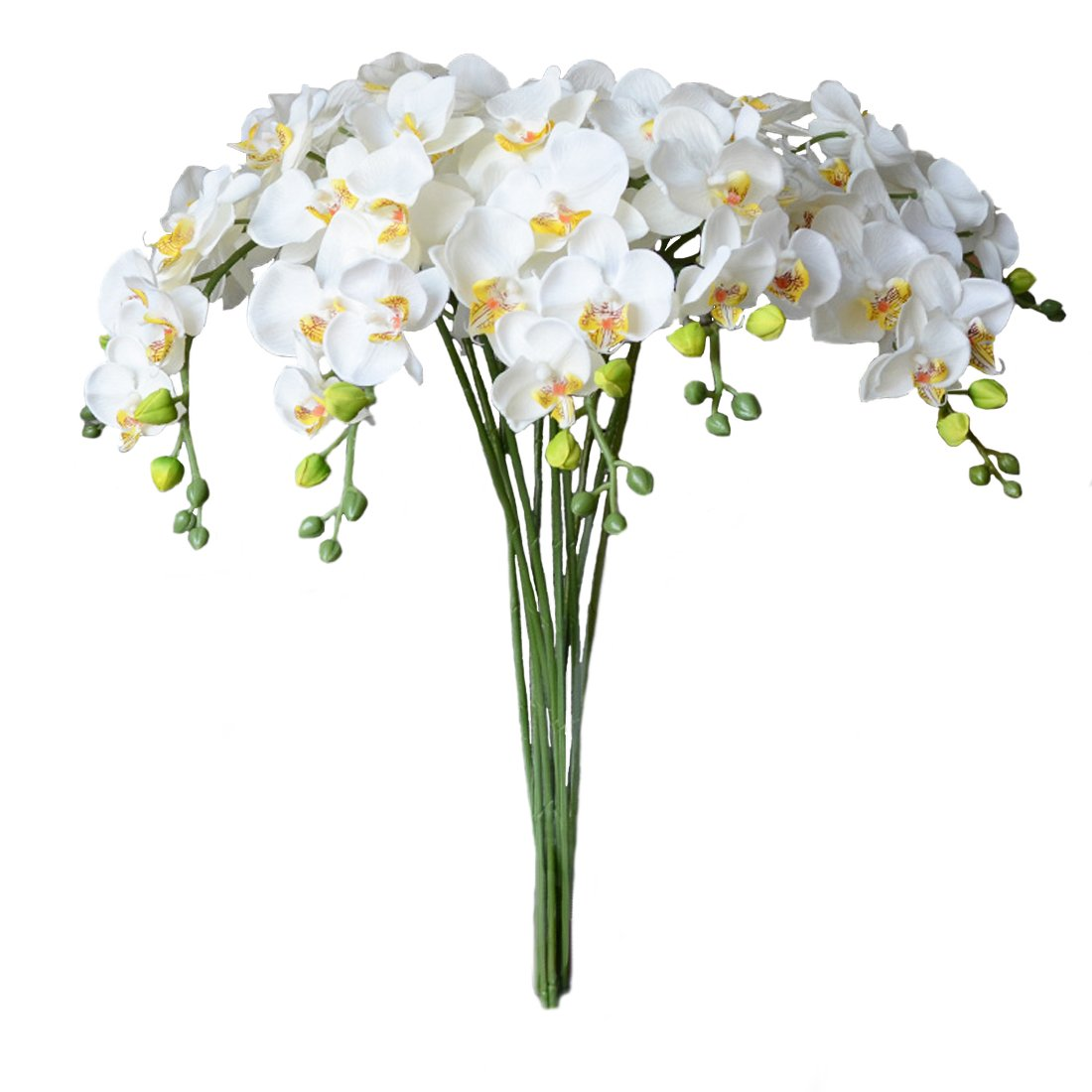 (カルシファー) Calcifer 胡蝶蘭ブーケ 茎付き 家庭菜園や披露宴の装飾用造花 レーヨン製 31インチ A01FL16CA0707ER0023 B019B08DBM Yellow Heart White|5 Yellow Heart White